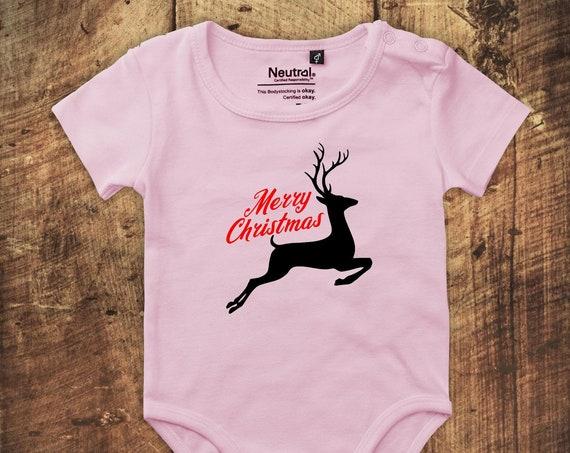 "kleckerliese Babybody Body ""Merry Christmas Rentier"" Fair Wear"