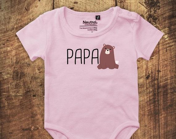 """kleckerliese Babybody Body """"Papabär Papa Bär"""" Fair Wear"""