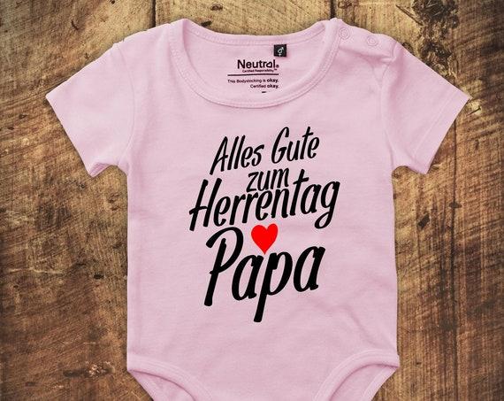 """kleckerliese Babybody Body """"Alles Gute zum Herrentag Papa"""" Fair Wear"""