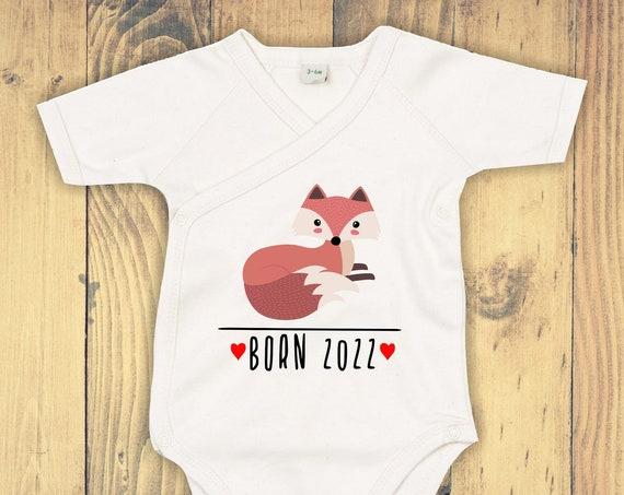 """kleckerliese Wrap Baby Bodysuit """"Born 2022 Animal Motif Fox"""" Baby Bodysuit Wrap Body Organic Kimono Short Sleeve"""