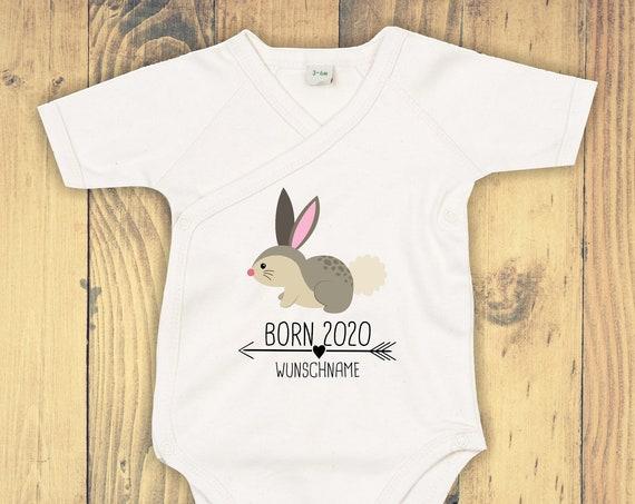 "kleckerliese Wrap Baby Bodysuit ""Born 2020 Animal Motif Arrow Wish Name Name Text Bunny"" with Wish Text BabyBody Wrapbody Organic Kimono"