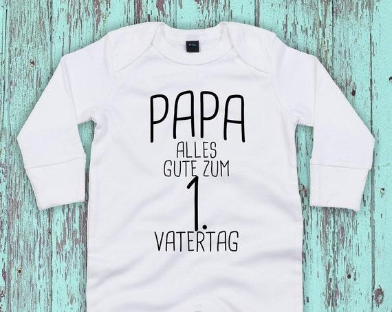 """Kleckerliese Baby Schlafanzug """"Papa alles Gute zum 1. Vatertag"""" Sleepsuit Jungen Mädchen Vatertag"""