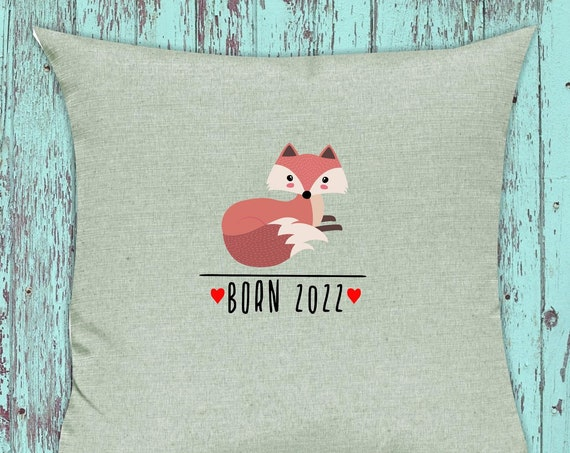 "kleckerliese pillow ""Born 2022 animal motif fox"" pillow cover deco sofa cuddly pillow decoration"