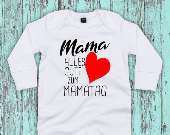 """Kleckerliese Baby Schlafanzug """"Mama alles Gute zum Mamatag"""" Sleepsuit Jungen Mädchen Muttertag"""
