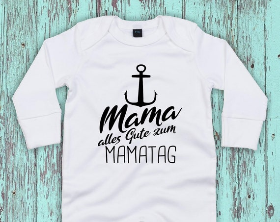 """Kleckerliese Baby Schlafanzug """"Mama alles Gute zum Mamatag Anker"""" Sleepsuit Jungen Mädchen Muttertag"""