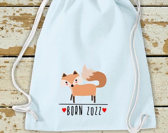 "Kleckerliese Children's Gym Bag ""Born 2022 Animal Motif Fox"" with Desired Year Backpack Bag Cloth Bag Gym Bag Carrying Bag"