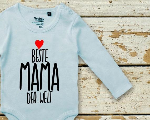 "kleckerliese long sleeve baby bodysuit ""Best mom in the world"" Baby Bodybody Boys Girl Longsleeve Fair Wear"
