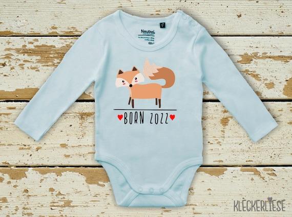 """kleckerliese Long Sleeve Baby Bodysuit """"Born 2022 Animal Motif Fox"""" Baby Bodysuit Boys Girl Longsleeve Fair Wear"""