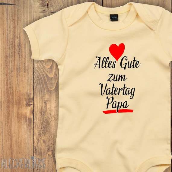 """kleckerliese Baby Bodysuit """"Happy Father's Day Dad"""" Baby Body romper boys girl short sleeve Father's Day"""