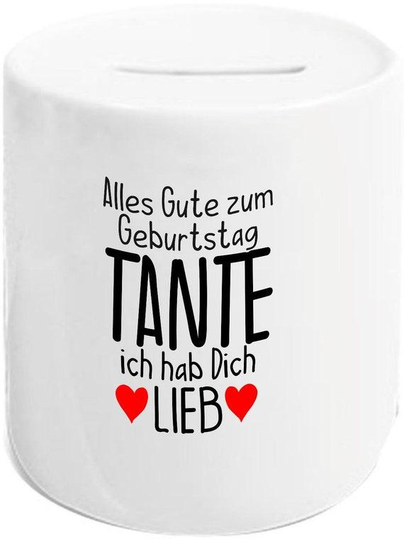 """kleckerliese Spardose Sparschwein """"Alles Gute TANTE ich hab Dich Lieb"""" Geldgeschenke Geschenkidee"""