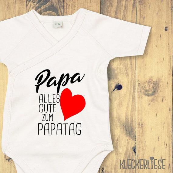 """kleckerliese Wrap Baby Bodysuit """"Dad Happy Dad's Day"""" Baby Body romper Wrap Body Organic Kimono Short Sleeve Father's Day"""