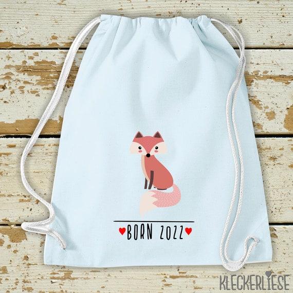 "Kleckerliese Kids Gymsack ""Born 2022 Animal Motif Fox"" Backpack Bag Fabric Bag Gym Bag Carrying Bag"