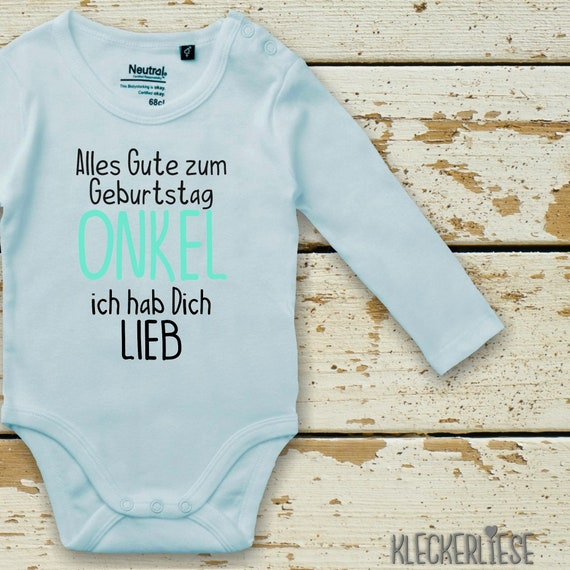 """kleckerliese long sleeve baby body """"All the best UNCLE I love you"""" Baby Body Boy Girl Longsleeve Fair Wear"""