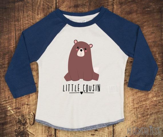 """Kleckerliese Baby Kids T-Shirt Long Sleeve Shirt """"Little Cousin"""" Animal Motifs Bear Raglan Sleeves Boys Girl"""