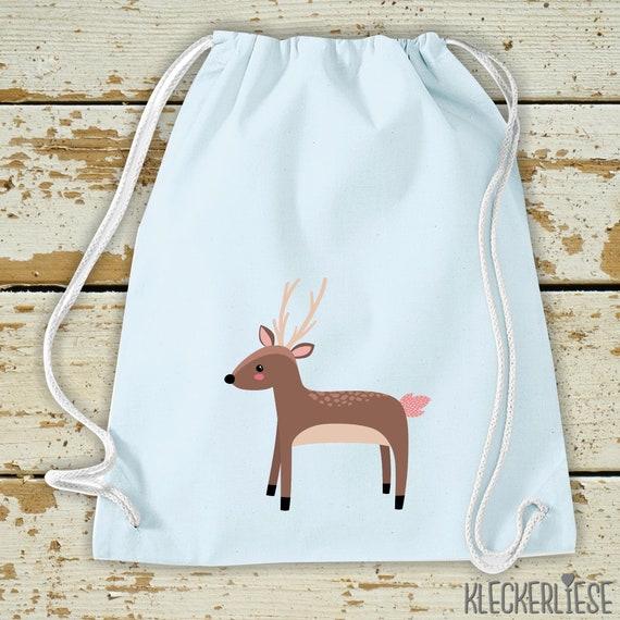 "Kleckerliese Kids Gym bag ""Deer"" Backpack Bag Cloth bag Gym bag Carrying bag"