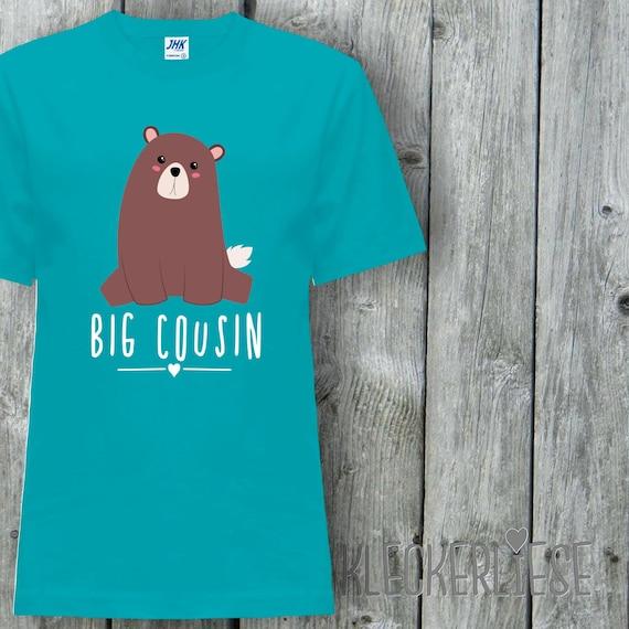 """Kleckerliese Baby Kids T-Shirt """"Big Cousin"""" Animal Motifs Bear Short Sleeve Sayings Boys Girl Shirt Nicki with Print Motif"""