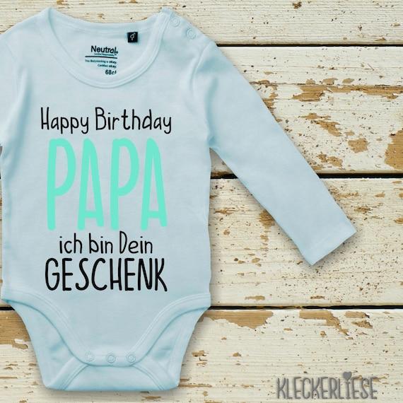 "kleckerliese Long Sleeve Baby Bodysuit ""Happy Birthday PAPA I'm Your Gift"" Baby Bodysuit Boys Girl Longsleeve Fair Wear"