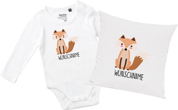 "kleckerliese gift set birth pillow long sleeve bodysuit with animal motif ""Fox"" Fair Wear with pillow filling"