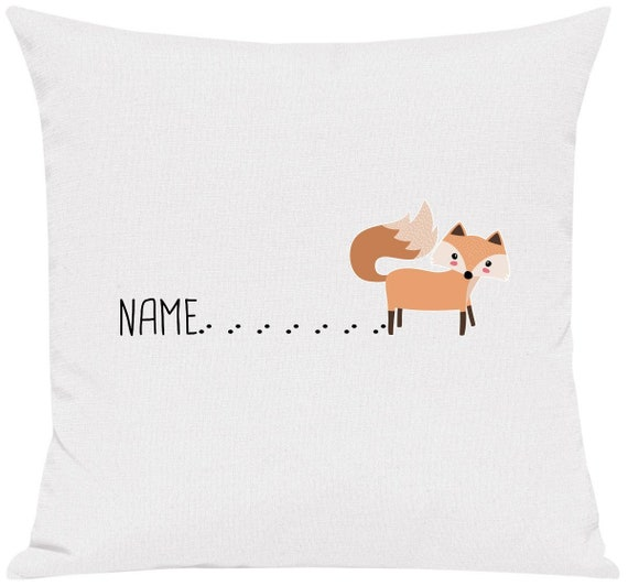 """kleckerliese pillow """"Wish name fox with track name Fox"""" with desired name individual animals nature forest meadow pillow cover decoration sofa"""