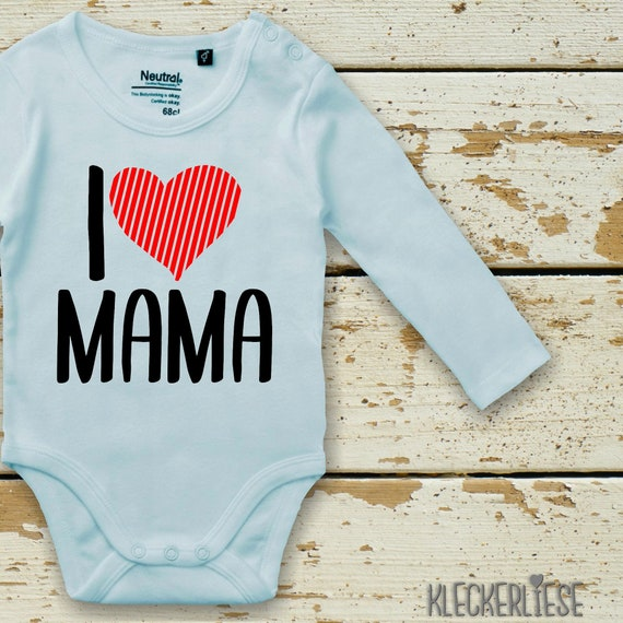 """Long Sleeve Baby Bodysuit """"I Love Mama"""" Fair Wear"""