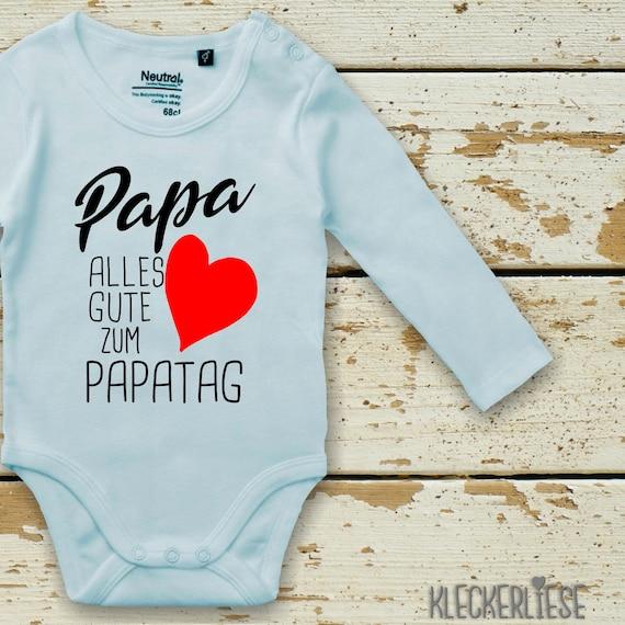 "kleckerliese Long Sleeve Baby Bodysuit ""Dad Happy To Dad's Day Heart"" Baby Bodybody Boys Girl Longsleeve Fair Wear Father's Day"