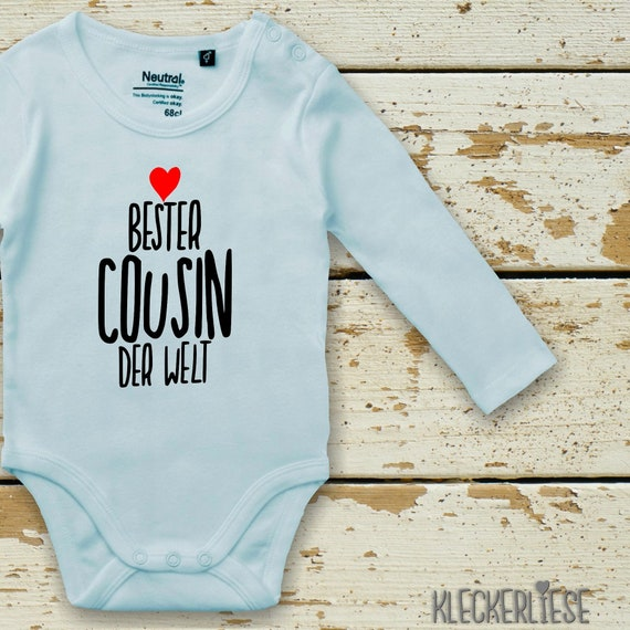 "Kleckerliese Longarm Babybody ""Best Cousin in the World"" Baby Body Boys Girls Longsleeve Fair Wear"