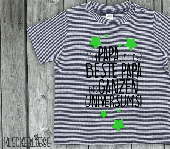 """kleckerliese strip baby shirt """"My dad is the best dad of the whole universe!"""" Boys girl Nicki short sleeve striped"""