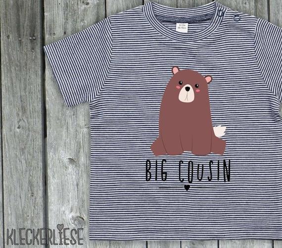 "kleckerliese strip Baby Shirt ""Big Cousin"" Animal Motifs Bear Color Blue/White"