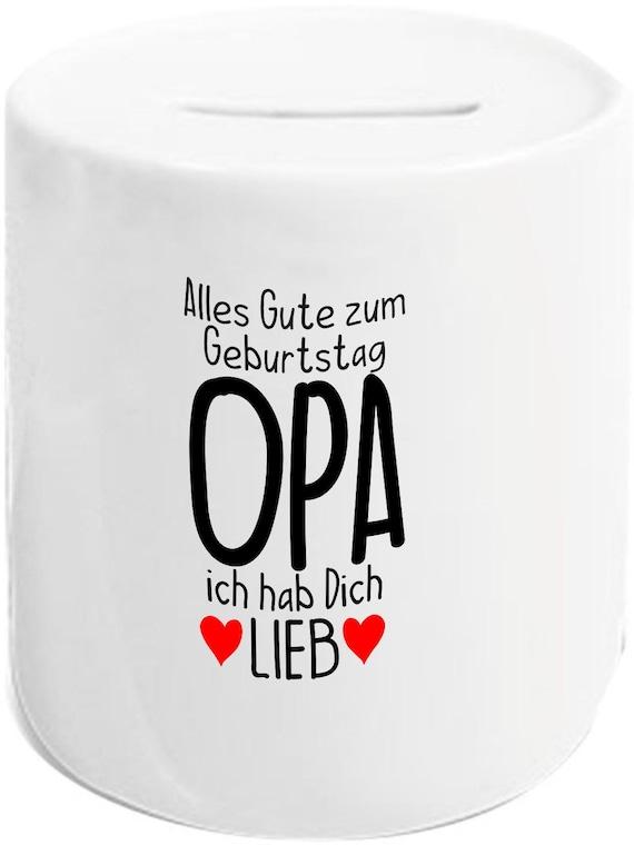 """kleckerliese Spardose Sparschwein """"Alles Gute OPA ich hab Dich Lieb"""" Geldgeschenke Geschenkidee"""