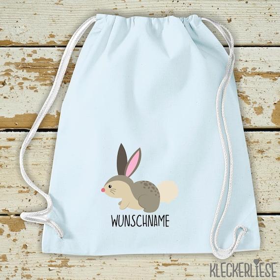 "Kleckerliese Gymsack ""Rabbit with desired name"" Backpack Bag Cloth bag Gym bag Carrying bag Kita School School"