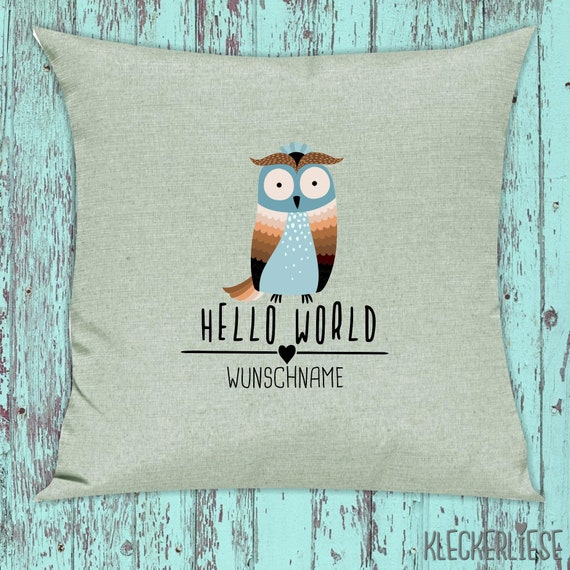 "kleckerliese Pillow ""Hello World Owl Wish Name"" Pillow Cover Deco Sofa Cuddly Pillow Decoration"