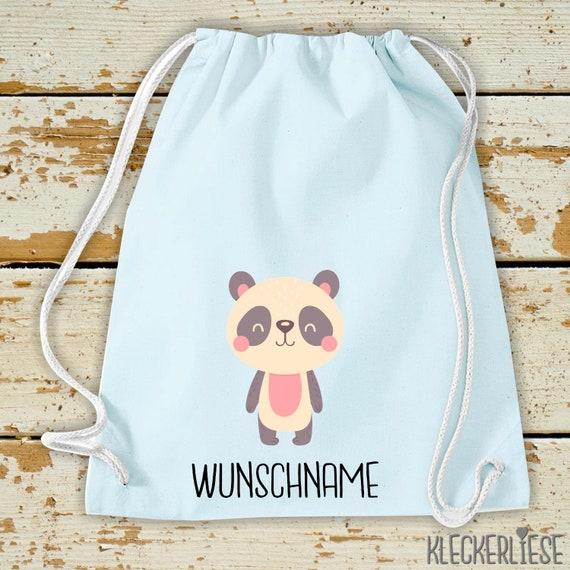 "Kleckerliese Gymsack ""Animal motif with desired name Panda Panda Bear"" with desired text or name backpack bag fabric bag gym bag carrying bag"