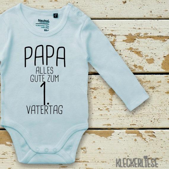 """kleckerliese Langarm Babybody """"Papa Alles Gute zum 1. Vatertag"""" Baby Body Jungen Mädchen Longsleeve Fair Wear"""
