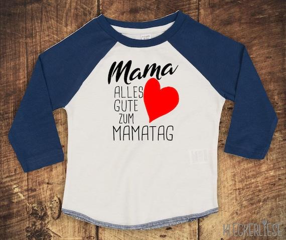 "Kleckerliese Baby Kids T-Shirt Long Sleeve Shirt ""Mom Happy To Mom Day"" Raglan Sleeve Boys Girl Mother's Day"