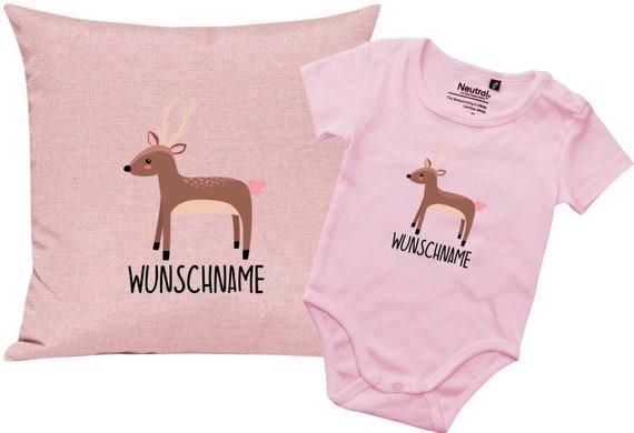 """kleckerliese Geschenkset Geburt Kissen Body mit Tiermotiv """"Reh"""" Fair Wear mit Kissenfüllung"""