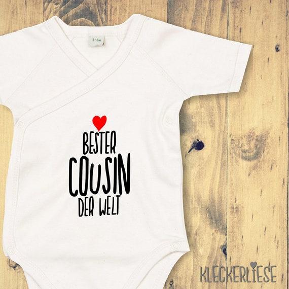 "KleckerlieseWickel Baby Body ""Best Cousin in the World"" Babybody Romper Wrap Body Organic Kimono Short Sleeve"