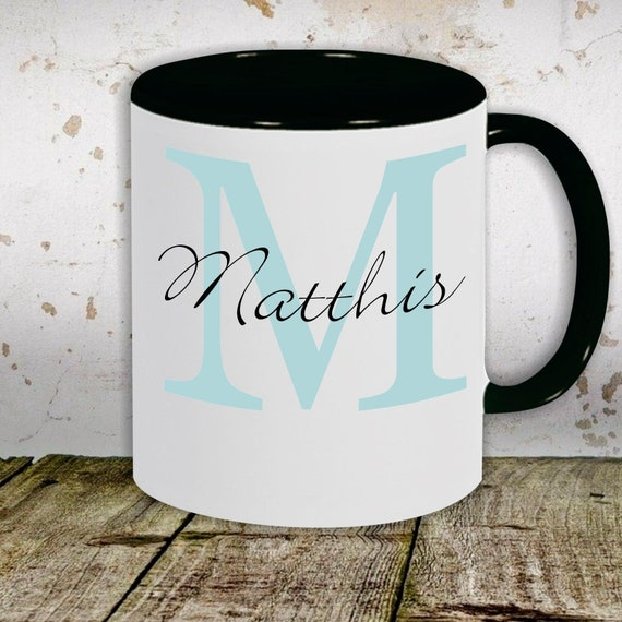 """kleckerliese children's cup teacup cup motif """"desired names and initials"""" with desired name milk cocoa coffee cup"""