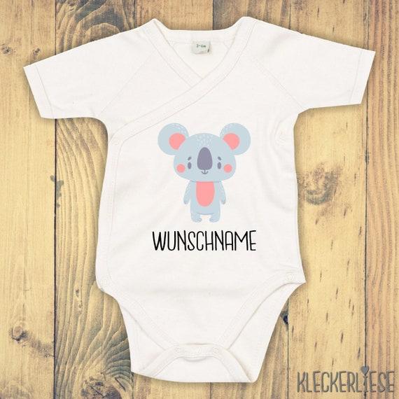 """kleckerliese Wickel Baby Body """"Tiermotiv mit Wunschnamen Koala"""" Babybody Strampler Wickelbody Organic Kimono Kurzarm"""
