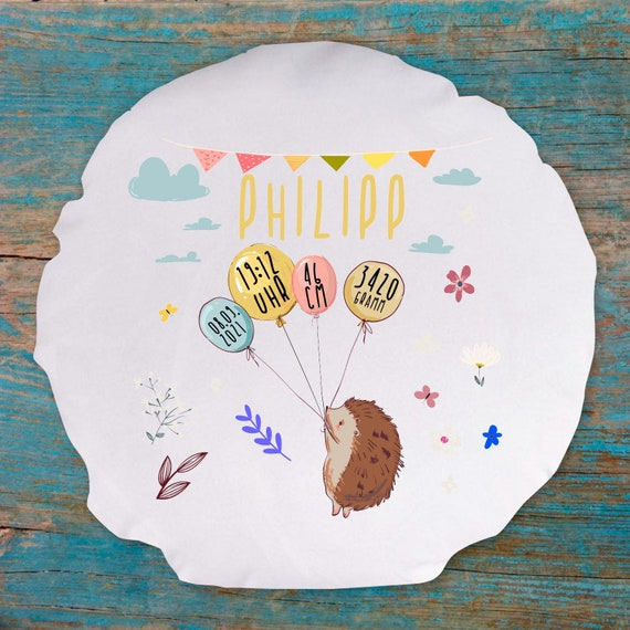 personalisierbarer Kissen Bezug Motiv Igel mit Wunschname, Geburts Daten Kissenhülle Bezug Ballon Tiere Namenskissen Taufe