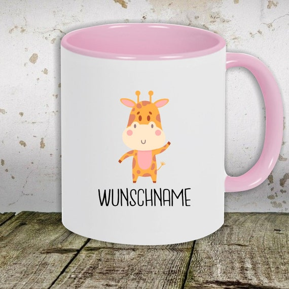 """kleckerliese children's cup teacup cup motif """"animal motif with wish name giraffe"""" with desired name milk cocoa coffee cup"""