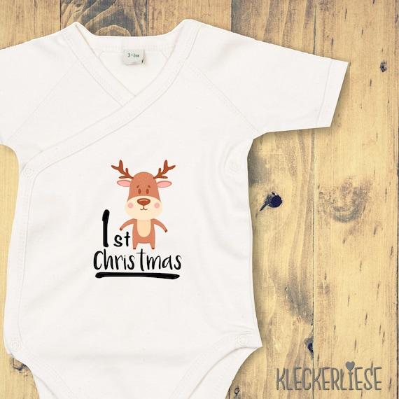"""kleckerliese Wickel Baby Body """"1st Christmas"""" Babybody Strampler Wickelbody Organic Kimono Kurzarm"""