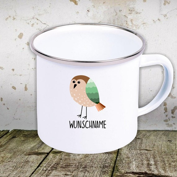 kleckerliese enamel children's cup with desired name teacup cup motif animal motif animals with camping tents retro cups