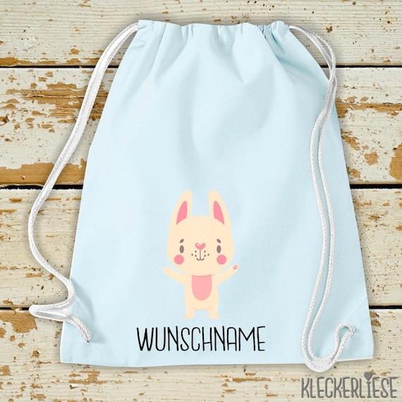 """Kleckerliese Gymsack """"Animal motif with desired name bunny bunny"""" with desired text or name backpack bag fabric bag gym bag carrying bag"""