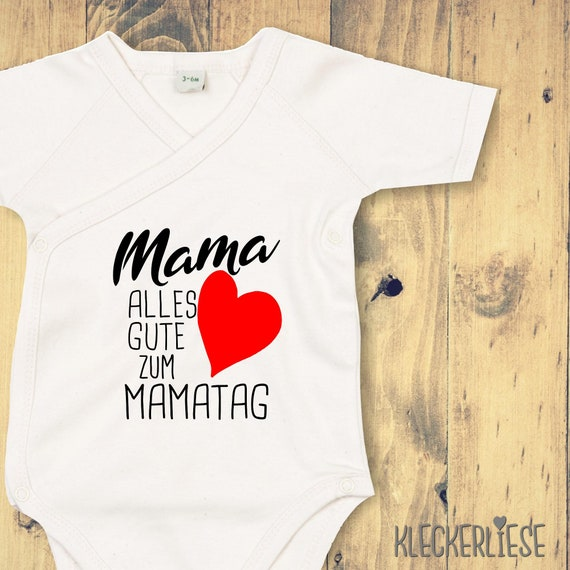 "kleckerliese Wickel Baby Body ""Mama Alles Gute zum Mamatag Herz"" Babybody Strampler Wickelbody Organic Kimono Kurzarm Muttertag"