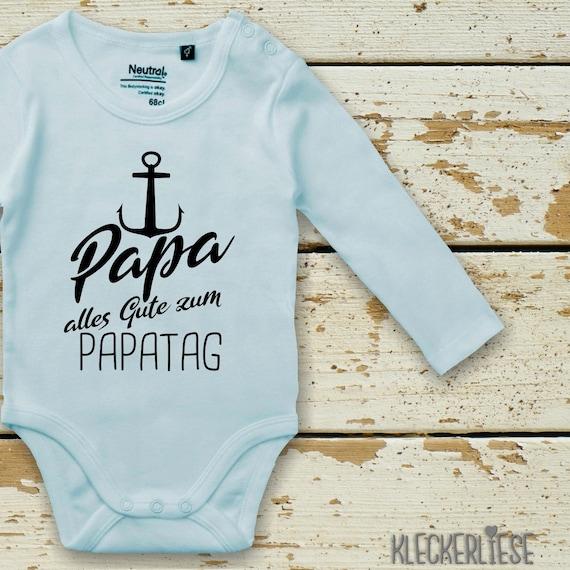 "kleckerliese Long Sleeve Baby Bodysuit ""Dad Happy Dad Day Anchor"" Baby Bodybody Boys Girl Longsleeve Fair Wear Father's Day"