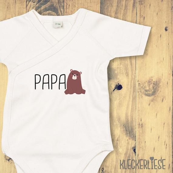 "kleckerliese Wrap Baby Bodysuit ""Papabear Papa Bear"" Baby Bodysuit Wrap Body Organic Kimono Short Sleeve"