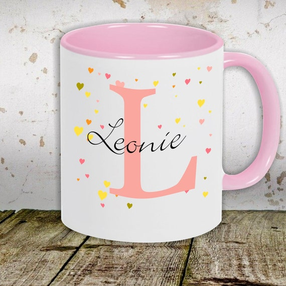 """kleckerliese children's cup teacup cup motif """"Hearts with desired names and initials"""" with desired name milk cocoa coffee cup"""