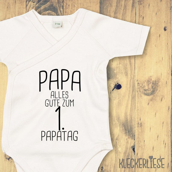 "kleckerliese Wickel Baby Body ""Papa Alles Gute zum 1. Papatag"" Babybody Strampler Wickelbody Organic Kimono Kurzarm Vatertag"