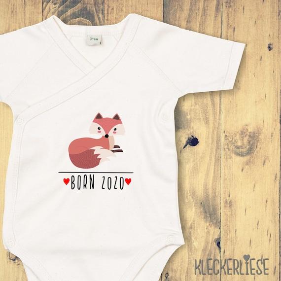 """kleckerliese Wrap Baby Bodysuit """"Born 2020 Animal Motif Fox"""" Baby Bodysuit Wrap Body Organic Kimono Short Sleeve"""