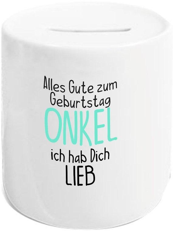 """kleckerliese Spardose Sparschwein """"Alles Gute ONKEL ich hab Dich Lieb"""" Geldgeschenke Geschenkidee"""